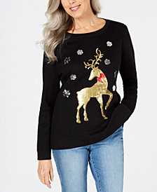 Karen Scott Petite Sequined Holiday-Deer Sweatshirt, Created for Macy's