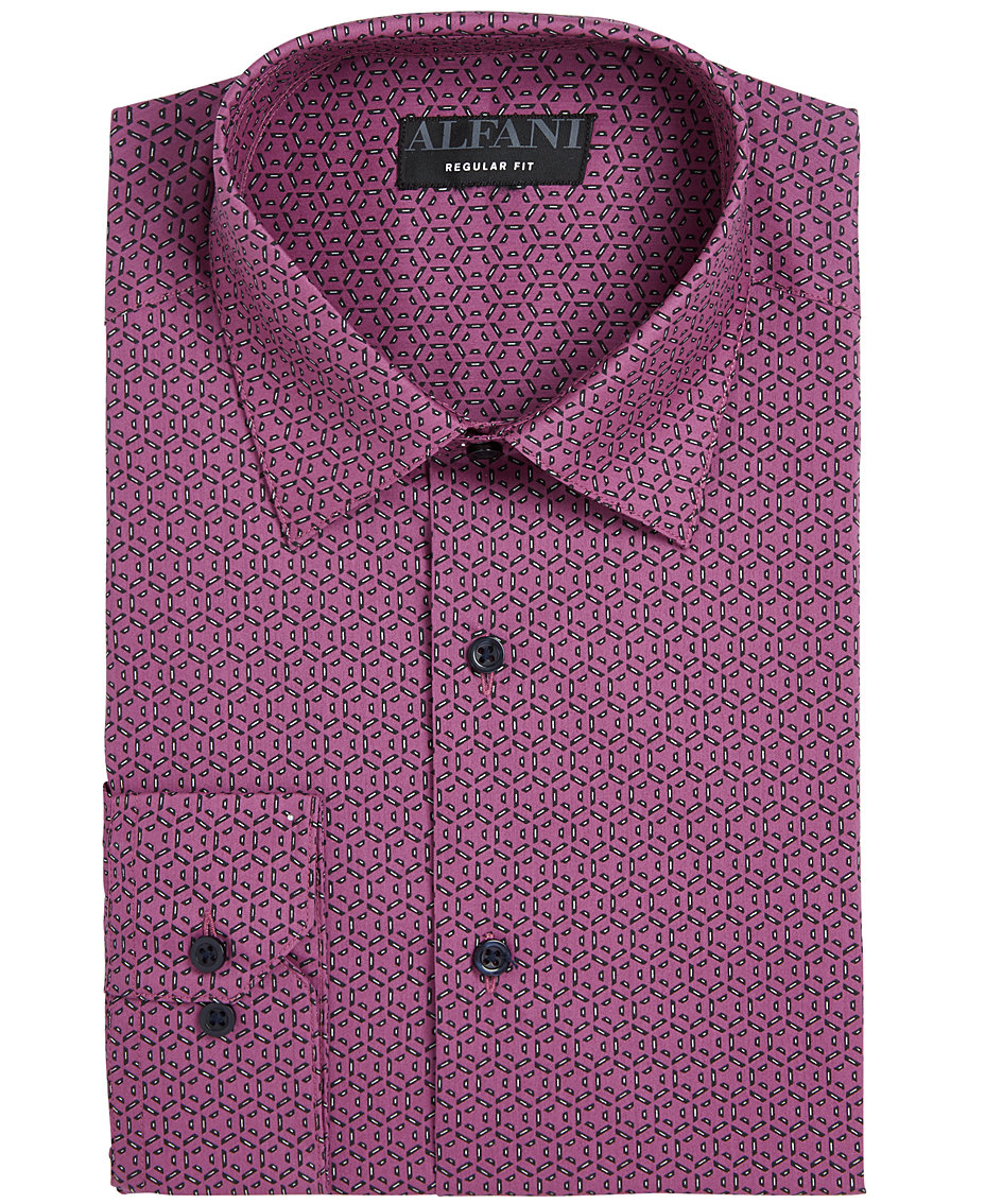 Alfani Assorted Alfatech By Mens Athletic Fit Print Dress Shirts