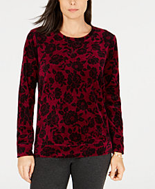 Karen Scott Petite Print Velour Sweater, Created for Macy's