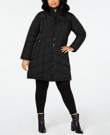 Calvin Klein Plus Size Faux-Fur-Trim Hooded Puffer Coat