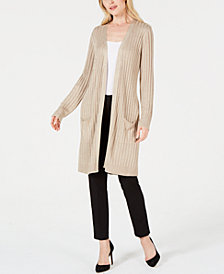 JM Collection Ribbed Metallic Cardigan, Created for Macy's