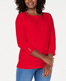 Karen Scott Cotton Pointelle Sweater, Created for Macy's
