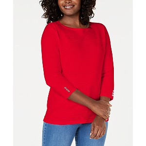 Deals on Karen Scott Womens Petite Cotton Pointelle Sweater