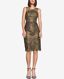 BCBGMAXAZRIA Metallic Lace Sheath Dress