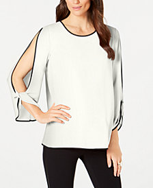 Alfani Piped Split-Sleeve Top, Created for Macy's