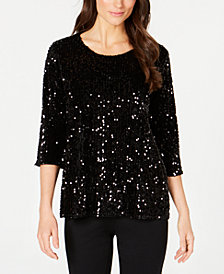 Alfani Petite Sequin Swing Top, Created for Macy's