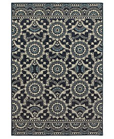 "Oriental Weavers Linden 7842A Navy/Grey 6'7"" x 9'6"" Area Rug"