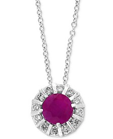"EFFY Certified Ruby (3/4 ct. t.w) & Diamond (1/4 ct. t.w) 18"" Pendant Necklace in 14K White Gold (Also Available in Sapphire, Emerald & Tanzanite)"