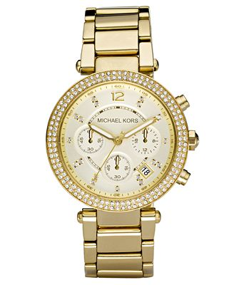 Michael Kors Women's Chronograph Parker Gold Ion Plated ...