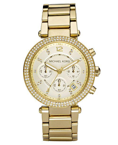 6891de9a4 ... Michael Kors Women's Chronograph Parker Gold Ion Plated Stainless Steel  Bracelet Watch 39mm MK5354 ...