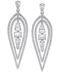 Danori Silver-Tone Multi-Shape Stone & Crystal Teardrop Drop Earrings, Created for Macy's