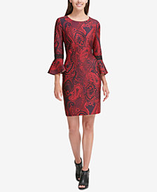 Tommy Hilfiger Printed Bell-Sleeve Sheath Dress