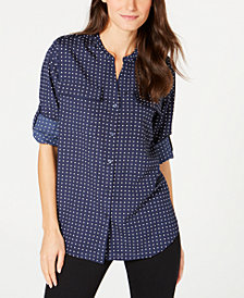 Calvin Klein Split-Neck Printed Top