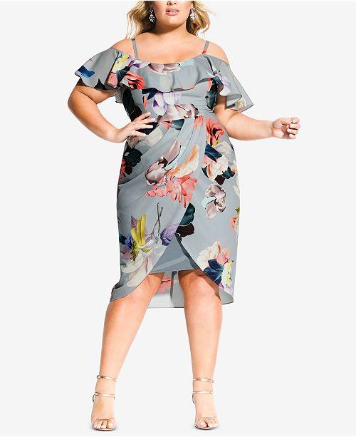 4a0a1c686f514 City Chic Trendy Plus Size Ruffled Faux-Wrap Dress   Reviews ...