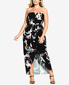 City Chic Trendy Plus Size Faux-Wrap Maxi Dress