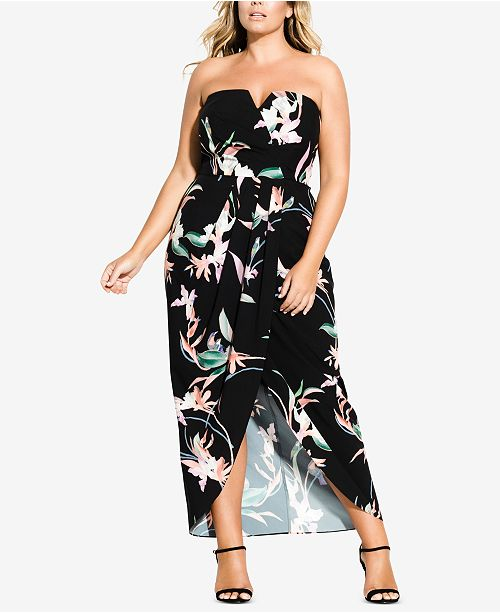 514fab5428 City Chic Trendy Plus Size Faux-Wrap Maxi Dress - Women - Macy s