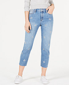 Rewash Juniors' Charlie Embellished Raw-Hem Jeans