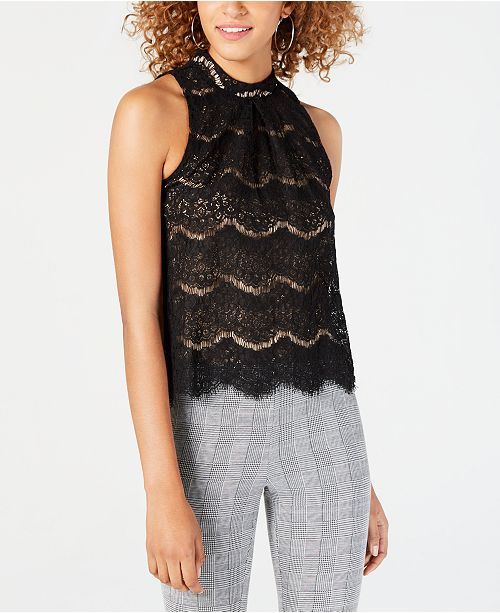 Juniors' Scalloped Eyelash Lace Top, Created for Macy's