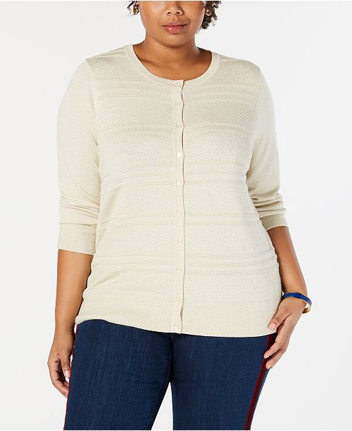 Charter Club Plus Size Lurex® Cardigan, Created for Macy's