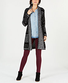 Style & Co Printed Shawl-Collar Cardigan, Created for Macy's
