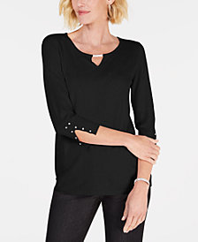 JM Collection Beaded Keyhole Top, Created for Macy's