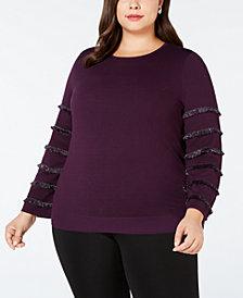 Alfani Plus Size Fringe-Sleeve Sweater, Created for Macy's