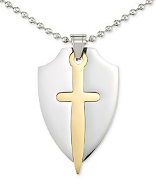 "LEGACY for MEN by Simone I. Smith Two-Tone Sword & Shield 24"" Pendant Necklace in Stainless Steel & Yellow Ion-Plate"