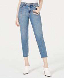 Kendall + Kylie The Studded Icon Cotton Raw-Hem Jeans