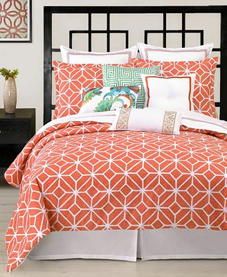 CLOSEOUT! Trina Turk Trellis Coral Comforter and Duvet Cover Sets