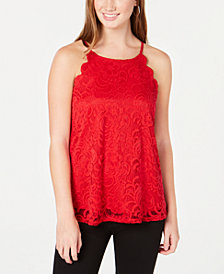 BCX Juniors' Scalloped Lace Top