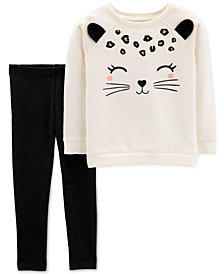 Carter's Toddler Girls 2-Pc. Cat-Face Sweatshirt & Glitter Leggings Set