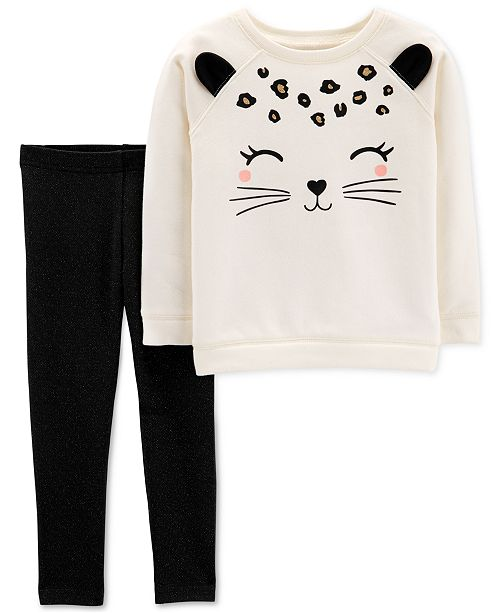6a8b28b21fd6d Carter's Toddler Girls 2-Pc. Cat-Face Sweatshirt & Glitter Leggings Set ...