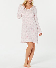 Charter Club Printed Cotton Knit Sleepshirt, Created for Macy's