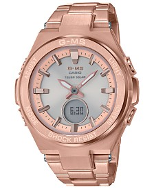 G-Shock Women's Solar Analog-Digital Rose Gold-Tone Stainless Steel Bracelet Watch 38.4mm