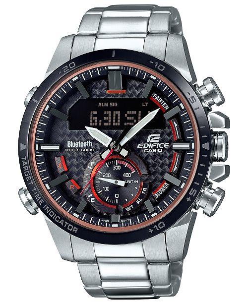 G-Shock Men's Solar Analog-Digital Stainless Steel Bracelet Watch 49.2mm