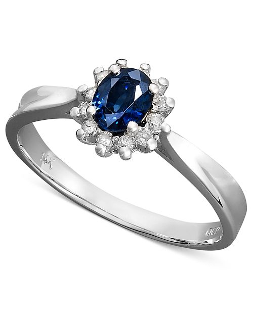 Macy's 14k White Gold Ring, Sapphire (3/8 ct. t.w.) and Diamond (1/8 ct. t.w.) Oval Ring