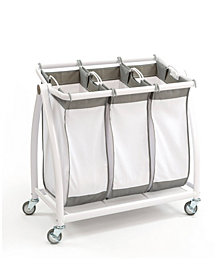 Premium 3-Bag Heavy-Duty Tilt Laundry Hamper Sorter Cart