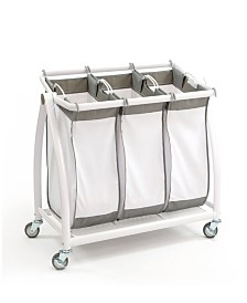 Seville Classics Premium 3-Bag Heavy-Duty Tilt Laundry Hamper Sorter Cart