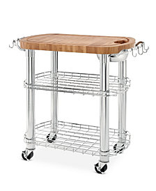 Rolling Oval Solid-Bamboo Butcher Block Top Kitchen Island Cart with Storage