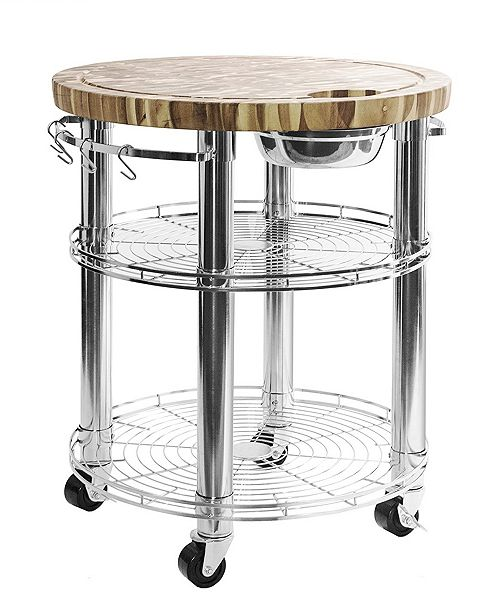 Rolling Solid Acacia Butcher Block Top Kitchen Island Cart With Storage
