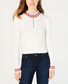 Planet Gold Juniors' Ribbed Zip-Up Sweater
