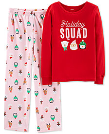 Carter's Little & Big Girls 2-Pc. Holiday Squad Pajama Set