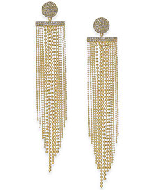 kate spade new york Gold-Tone Pavé Disc & Ball Chain Fringe Chandelier Earrings