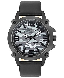 Kenneth Cole Reaction Men's Black Faux Leather Strap Watch 49mm