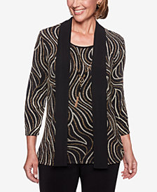 Alfred Dunner Shining Moments Layered-Look Metallic Necklace Top