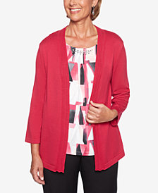Alfred Dunner Finishing Touches Layered-Look Embellished Geo-Print Sweater