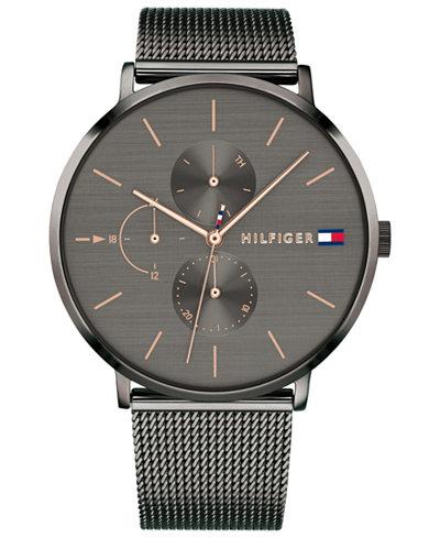 Tommy Hilfiger Women's Gunmetal Stainless Steel Mesh Bracelet Watch 40mm Created for Macy's