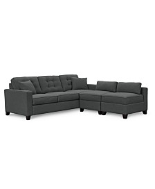 """Clarke II 93"""" Fabric Estate Sofa with Two Storage Armless Chairs, Created for Macy's"""