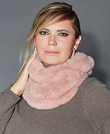 The Fur Vault Knitted Rabbit Fur Infinity Scarf