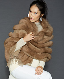 The Fur Vault Fox-Trim Cashmere Stole